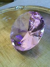 120mm  Large Crystal Cut Pink Paperweight Faceted Prism Glass Art Diamond #P