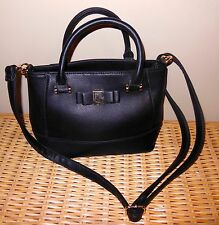 BRANGIO ITALY BLACK LEATHER  SATCHEL/  CROSS BODY BAG PRE-OWNED MINT