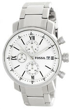 Fossil White Dial Stainless Steel Bracelet Mens Watch BQ1003