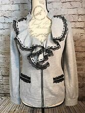 New Nick and Mo Anthropologie Gray Cotton Ruffles Jacket Coat Sweater sz S/M