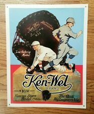 "Ken-Wel Brand Lou Gehrig Baseball Glove Ad Metal Sign 11 3/4"" x 15"" Display Rare"