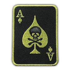 Ace of Spades Skull Death Card Poker Biker Embroidered Iron On Patch Casino Game