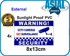4 Sticker CCTV Camera Security Warning Sign Notice Weatherproof PVC