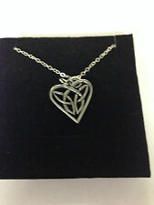 """Celtic INTERLACED HEART CHPP   Emblem on Silver Platinum Plated Necklace 18"""""""