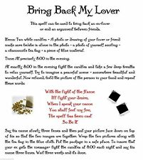 Simple Bring Back My Lover Spell for Wicca Book of Shadows Pagan Occult Ritual