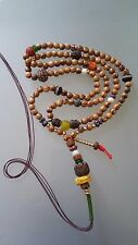 Buddhist Olive Wood 8MM Mala w/ Hand carved Lotus Flower Guru Bead