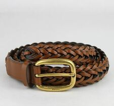$495 New Gucci Light Brown Braided Leather Belt w/gold Buckle 100/40 380606 2535