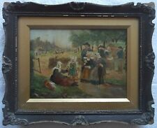 1850 FRAMED DUTCH SCHOOL OIL ON BOARD PAINTING signed A STUDY OF A FAMILY PICNIC