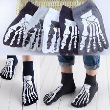Cotton Blend Men's Five Fingers 5 Toe Socks Absorbent Stockings Skull Skeleton