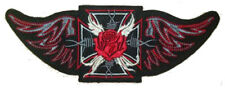 MALTESE CROSS WINGED RED ROSE SEW ON..BACK PATCH 9 1/2 x 3 1/2 inch (24cm x 9cm)