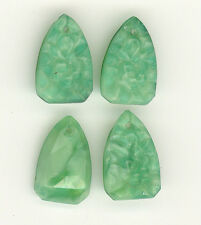 Antique Czech FLORAL CARVED JADE Art Deco Vintage Glass Pendants 18mm P135