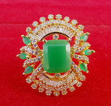 Simulated CUBIC Diamond NAJ Designer Emerald Cluster Ring Gold Plated 53 0RC