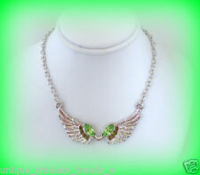 AUGUST BIRTHSTONE PERIDOT GREEN CRYSTAL SILVER ANGEL WINGS NECKLACE PENDANT