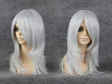 Womens Long Silver Glitter Disco Wig Gray Straight Hair Costume Halloween Adult