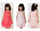 Hot Kids Girls Princess Summer Chiffon Lace Flower Bow Party Full Gown Dress WXF