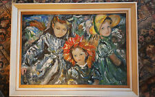 Superb Impressionist Acrylic  Board -  Impressionist Style  Painting of Children