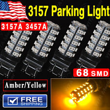 4PCS Amber Orange Car Parking Light 3157 Led bulbs 68-SMD LED Light bulb 3157A