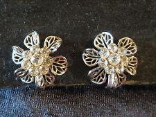 Vtg Clear Rhinestone Cluster Ctr Flower SB Earrings Open Work Silver Tone Petals