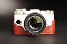 Handmade Genuine real Leather Half Camera Case bag cover for Pentax QS1 Brown