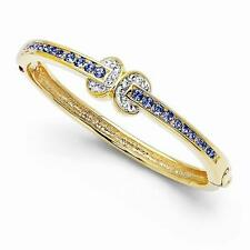 "NEW JACQUELINE KENNEDY LOVE KNOT BANGLE 8"" BRACELET GOLD PLATED BLUE SWAROVSKI"