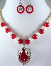 "noblest red jade-white pearl necklace +18KGP pendant earring set 18""AAA"