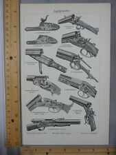 Rare Antique Original VTG Guns Triggers Weapons Chart Illustration Art Print
