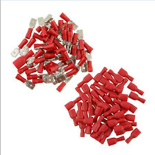100 Pcs Red Assorted Insulated Wire Crimp Terminal Male To Female Connector Kit