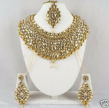 Indian Wedding Mughal Style Fashion Necklace & Earrings Jewelry Set Gold Plated