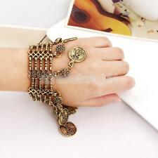 Vintage Gold Turkish Ethnic Tribal Gypsy Jewelry Bohemia Coin Bracelet Cuff