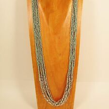"""32"""" Long Multi Strand Turquoise Color Bohemian Style Handmade Seed Bead Necklace"""
