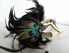 Mardi Gras Masquerade Mask - Black & Gold With Peacock Feathers - NEW -