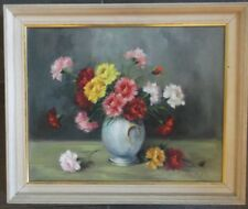 FRAMED OIL ON CANVAS PAINTING  signed SZ.FLIEGL FUQ A STUDY OF SUMMER FLOWERS
