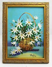 Original Oil Painting by Hyla - Daisies In A Basket