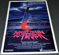NIGHT TRAIN TO TERROR 1985 ORIGINAL 27x41 MOVIE POSTER! CAMERON MITCHELL HORROR!