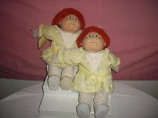 COLECO VINTAGE CABBAGE PATCH KIDS TWINS GIRLS RED HAIR GREEN EYES YELLOW DRESS