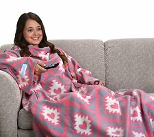Snuggie Pink Tribal Hearts Print Adult Super-Soft Fleece with Pockets