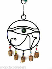 Cast Iron Eye of Horus Wind Chimes Bells Peaceful Protection Home Garden Yard