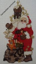 PLAUENER SPITZE ® Fensterbild WEIHNACHTEN * WEIHNACHTSMANN Santa Claus NIKOLAUS