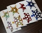 CHRISTMAS SNOWFLAKES WINDOW STICKERS DECORATIONS SPARKLE SNOWFLAKES 12 or 6 pcs