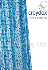 Croydex Blue Mosaic PVC Vinyl Shower Curtain for Bathroom Bath Waterproof