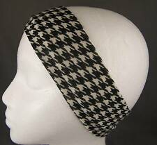 "Cream Black knit houndstooth check pattern stretch soft headband 2.5"" wide"