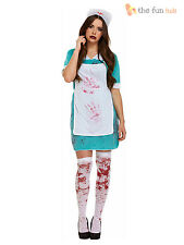 Size 10-14 Ladies Sexy Zombie Bloody Nurse Halloween Womens Fancy Dress Costume