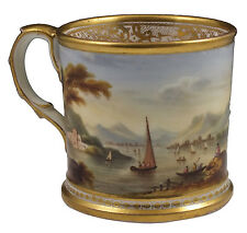 Fine 19th Century Derby Porcelain Mug w/ Superb Hand Painted Scenic Views