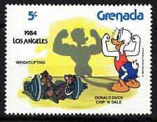 TIMBRE NEUF  WALT DISNEY DONALD A LA MUSCULATION LOS ANGELES 1984