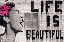 CANVAS Life is Beautiful by Banksy 18x12 Giclee Gallery Wrap Art Home Decor