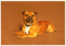 "STAFFORDSHIRE BULL TERRIER DOG FINE ART LIMITED EDITION PRINT - ""Lionheart"""