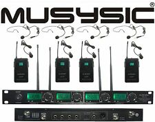 MUSYSIC 4 Channel UHF Lapel / Lavalier & Headset Wireless Microphone System