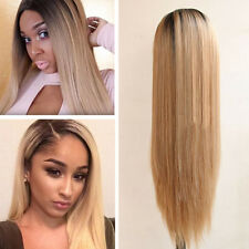 Ombre Color Black Blond Straight Hair Wig Heat Resistant Lace Front Wig 20''