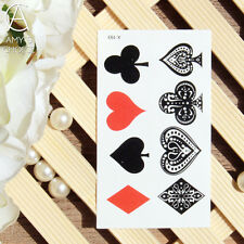 Red Heart Black Club Diamonds Spades Body Art Beauty Poker Temporary Tattoo UK