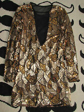 Gold Silver VTG Cramps IVY Bowie Prince Sequin Disco Mesh Sexy Glitter Dress XS